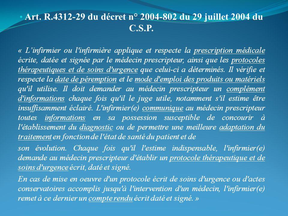 Art. R.4312-29 du décret n° 2004-802 du 29 juillet 2004 du C.S.P.