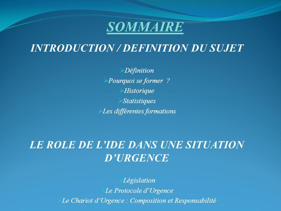 SOMMAIRE INTRODUCTION / DEFINITION DU SUJET