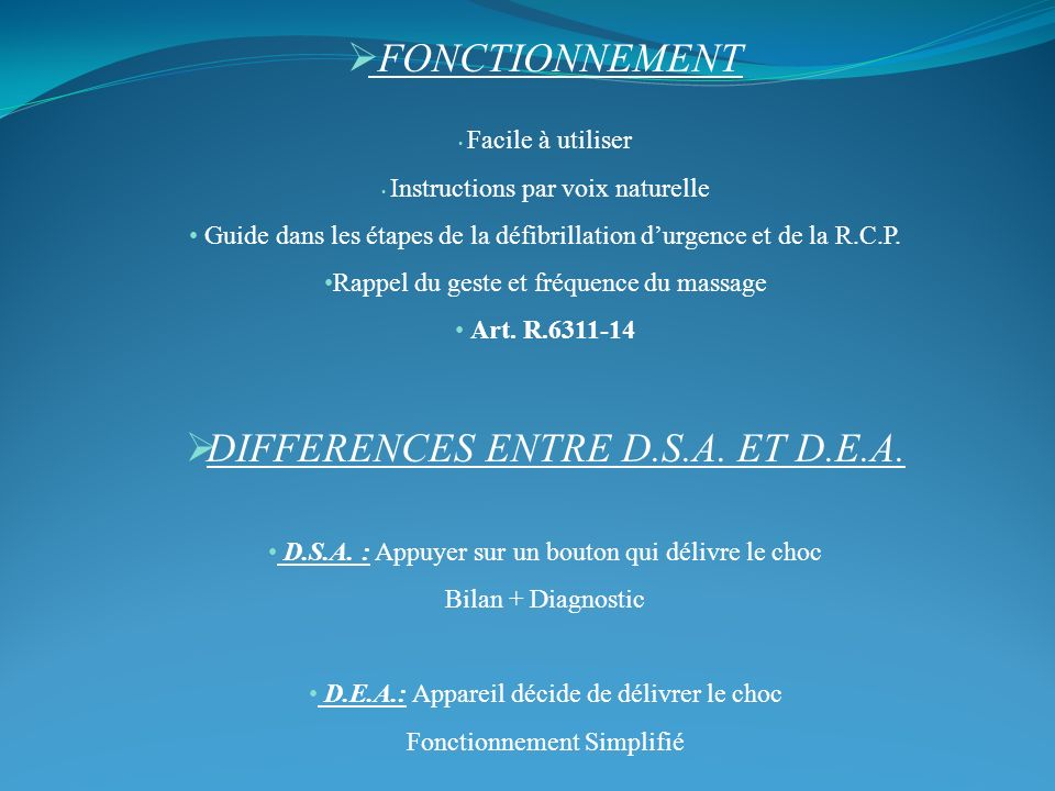 DIFFERENCES ENTRE D.S.A. ET D.E.A.
