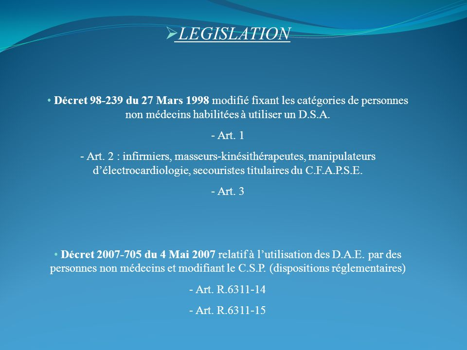 LEGISLATION Décret 98-239 du 27 Mars 1998 modifié fixant les catégories de personnes non médecins habilitées à utiliser un D.S.A.