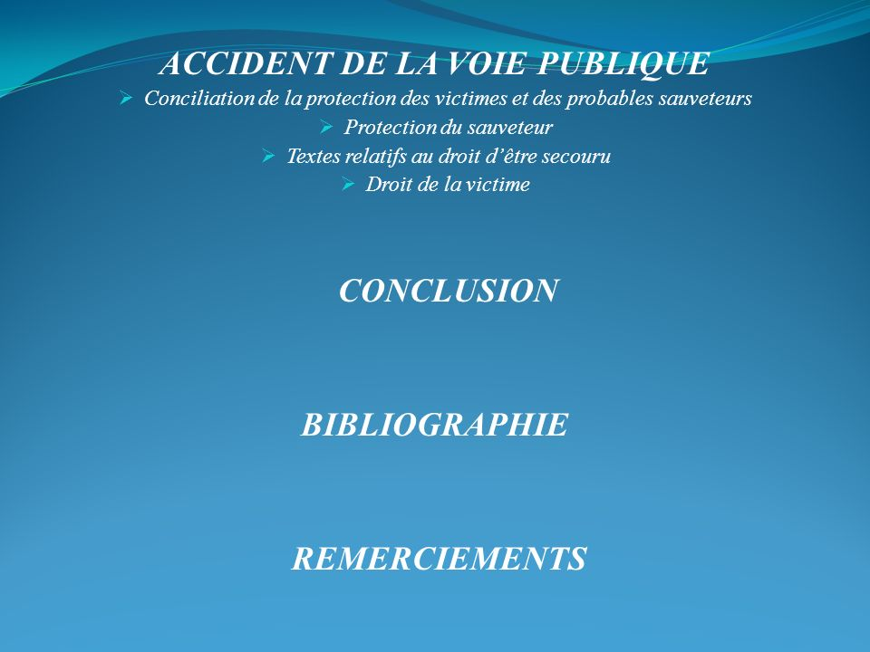 ACCIDENT DE LA VOIE PUBLIQUE