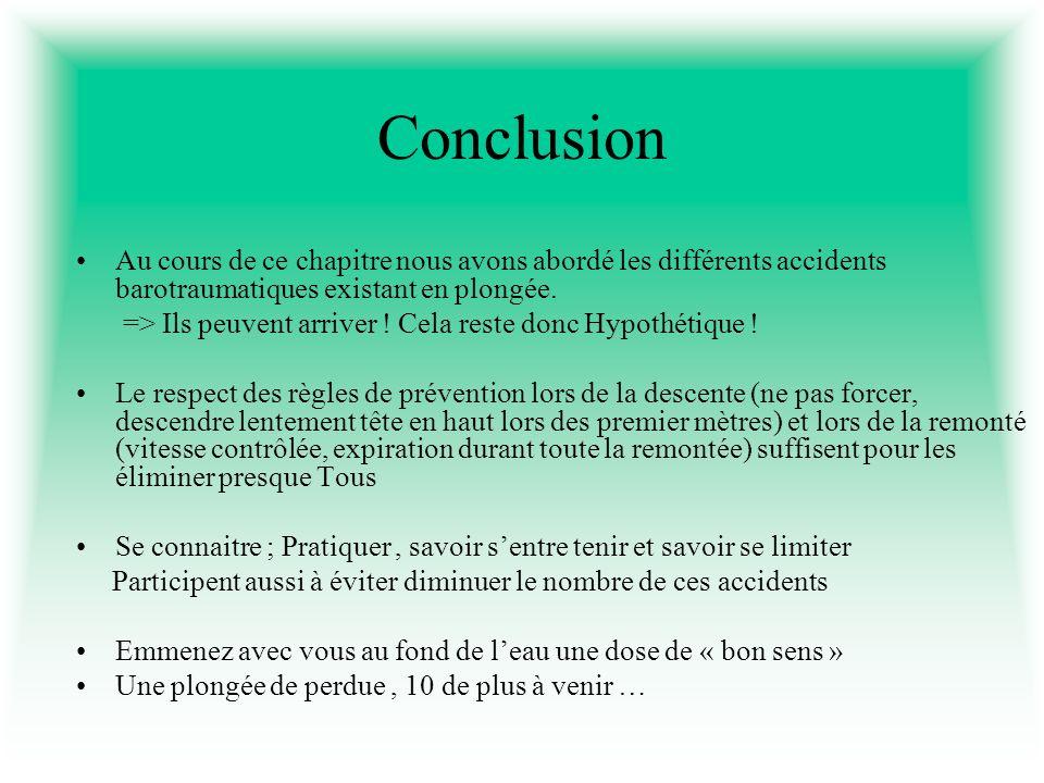 Conclusion Au cours de ce chapitre nous avons abordé les différents accidents barotraumatiques existant en plongée.