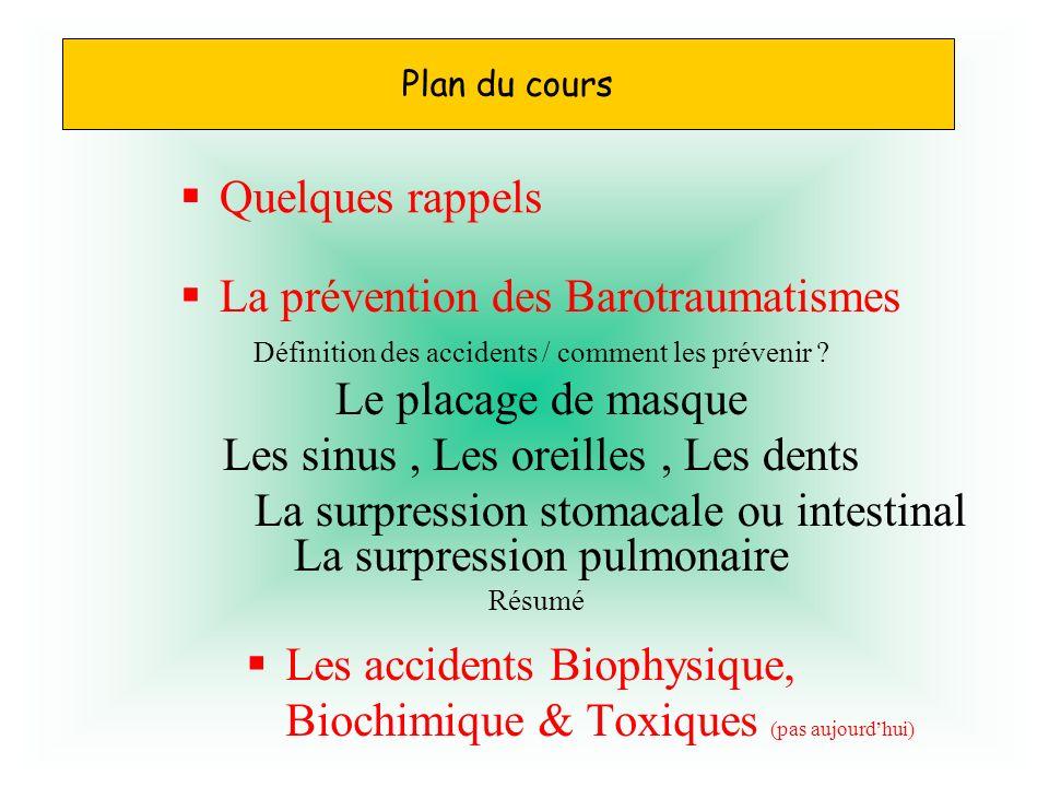 La prévention des Barotraumatismes