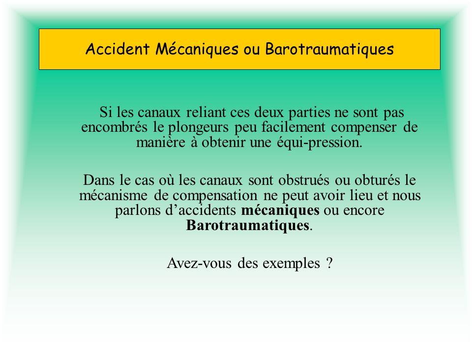 Accident Mécaniques ou Barotraumatiques