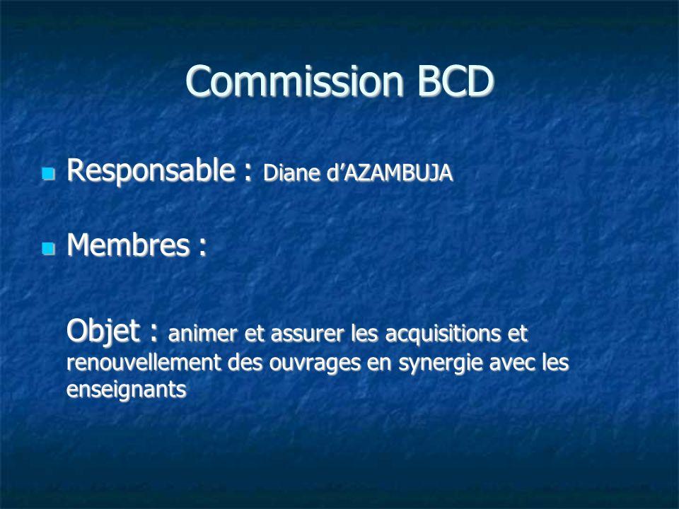 Commission BCD Responsable : Diane d'AZAMBUJA Membres :