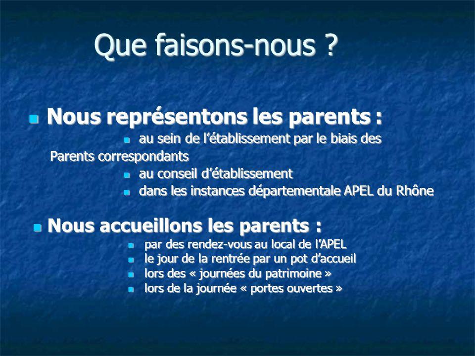 Que faisons-nous Nous représentons les parents :