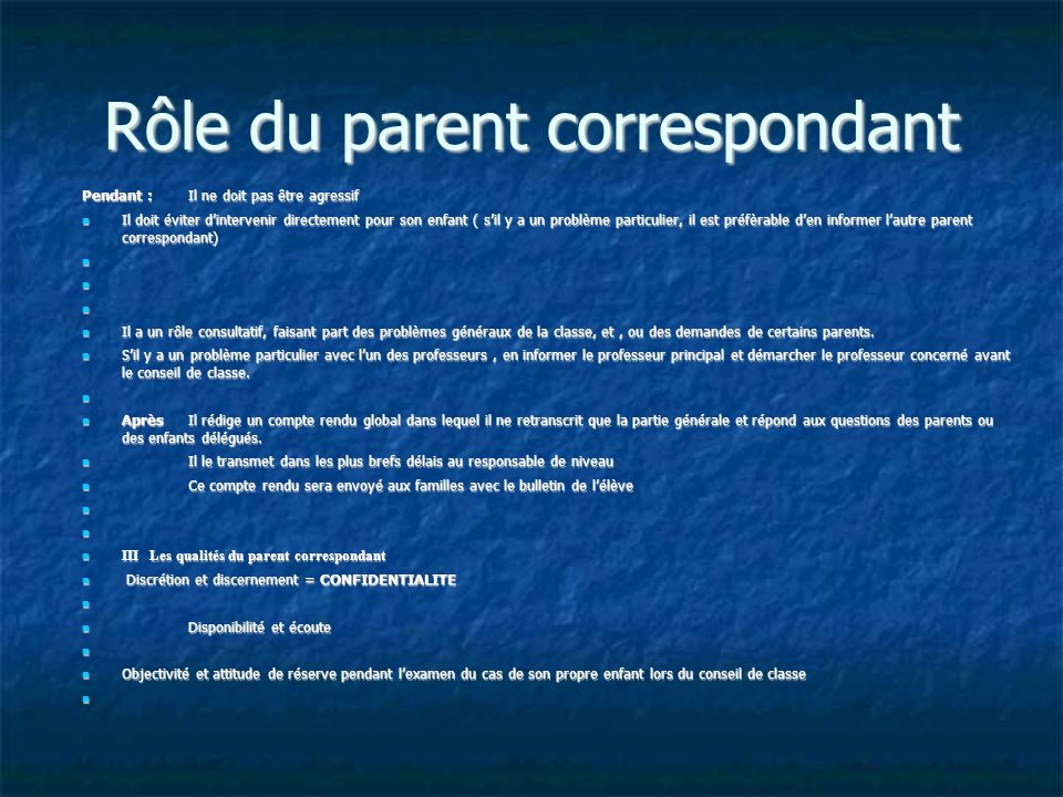 Rôle du parent correspondant