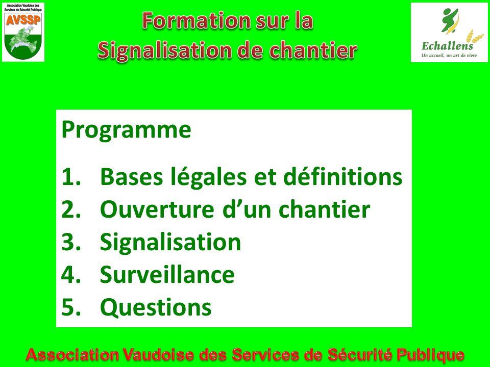 Bases légales et définitions Ouverture d'un chantier Signalisation