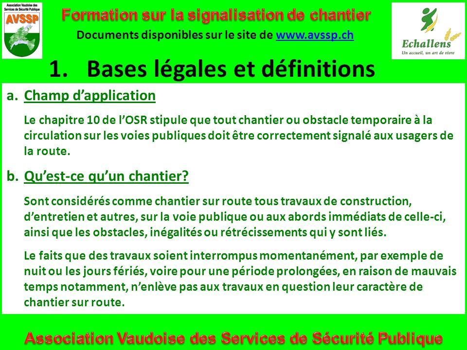 Bases légales et définitions
