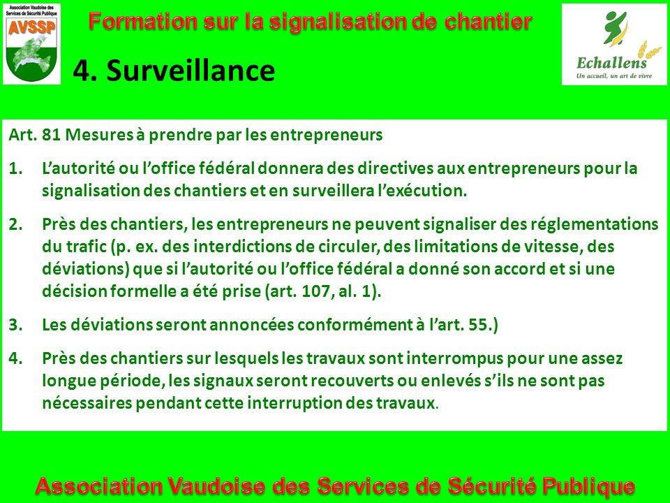 4. Surveillance Formation sur la signalisation de chantier