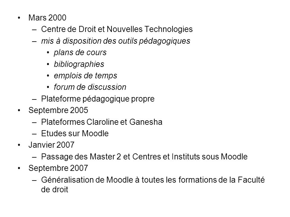 Mars 2000 Centre de Droit et Nouvelles Technologies. mis à disposition des outils pédagogiques. plans de cours.