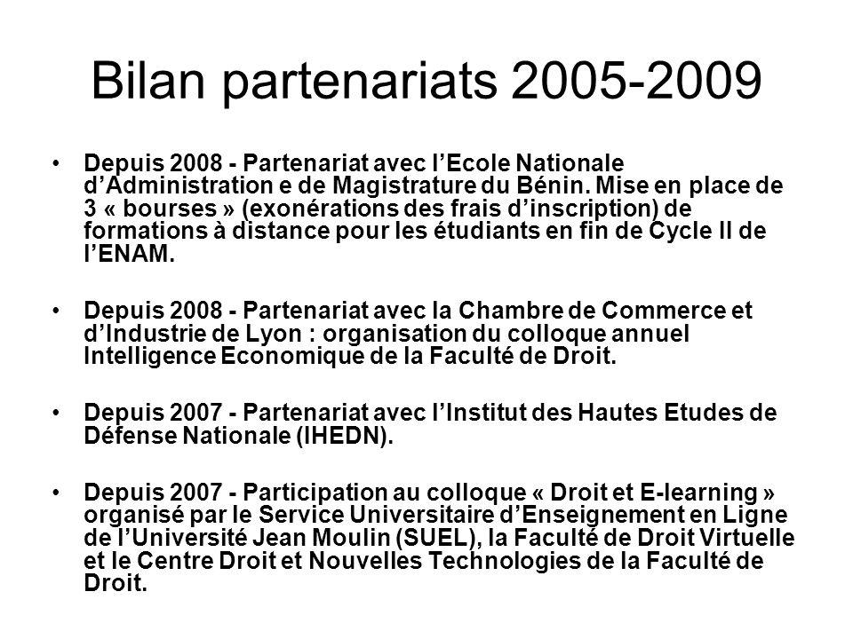 Bilan partenariats 2005-2009