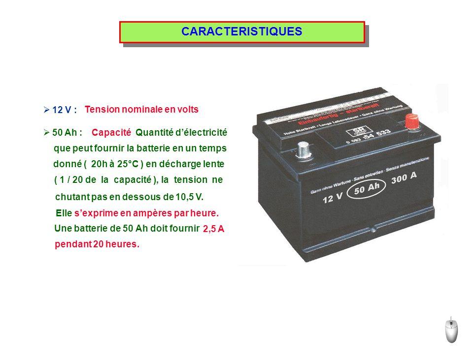 CARACTERISTIQUES 12 V : Tension nominale en volts 50 Ah : Capacité