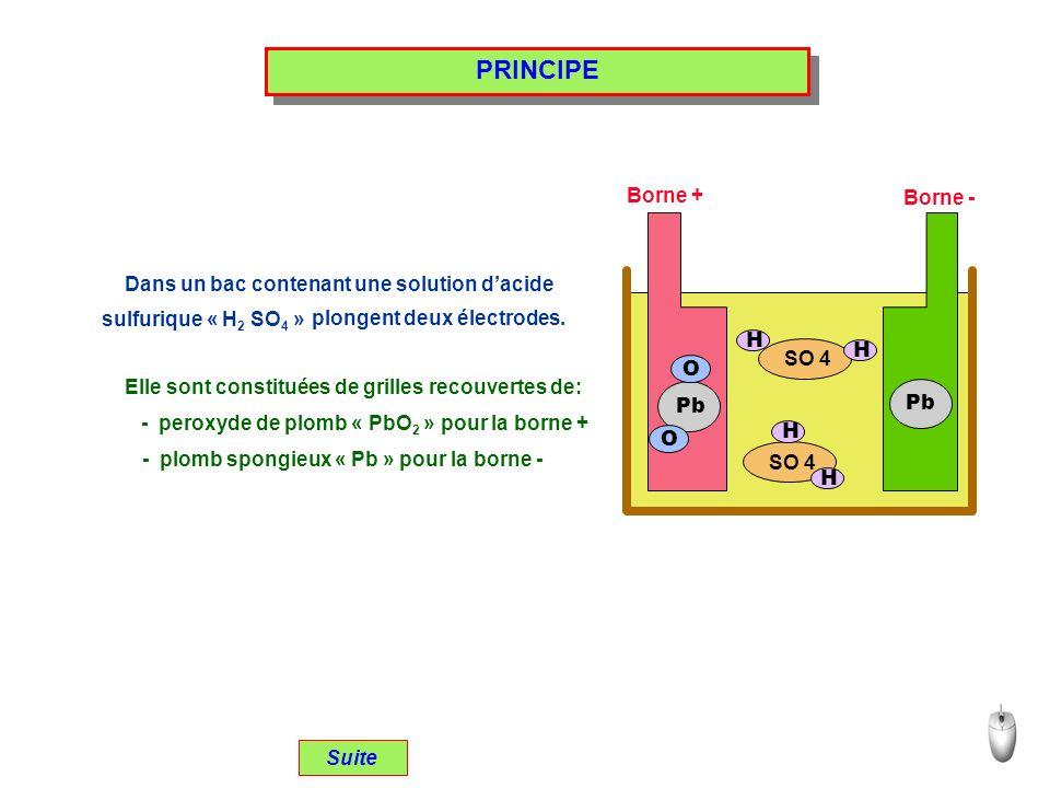 PRINCIPE Borne + Borne - Dans un bac contenant une solution d'acide