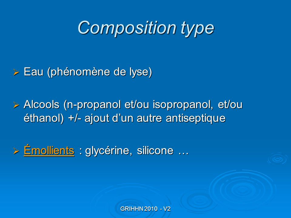 Composition type Eau (phénomène de lyse)