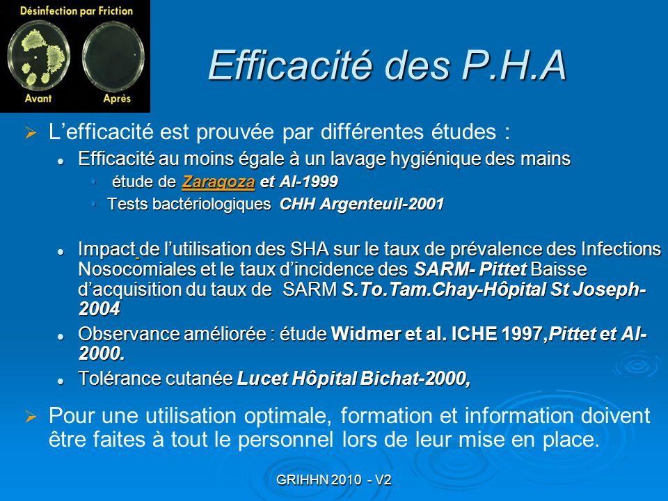 Efficacité des P.H.A L'efficacité est prouvée par différentes études :