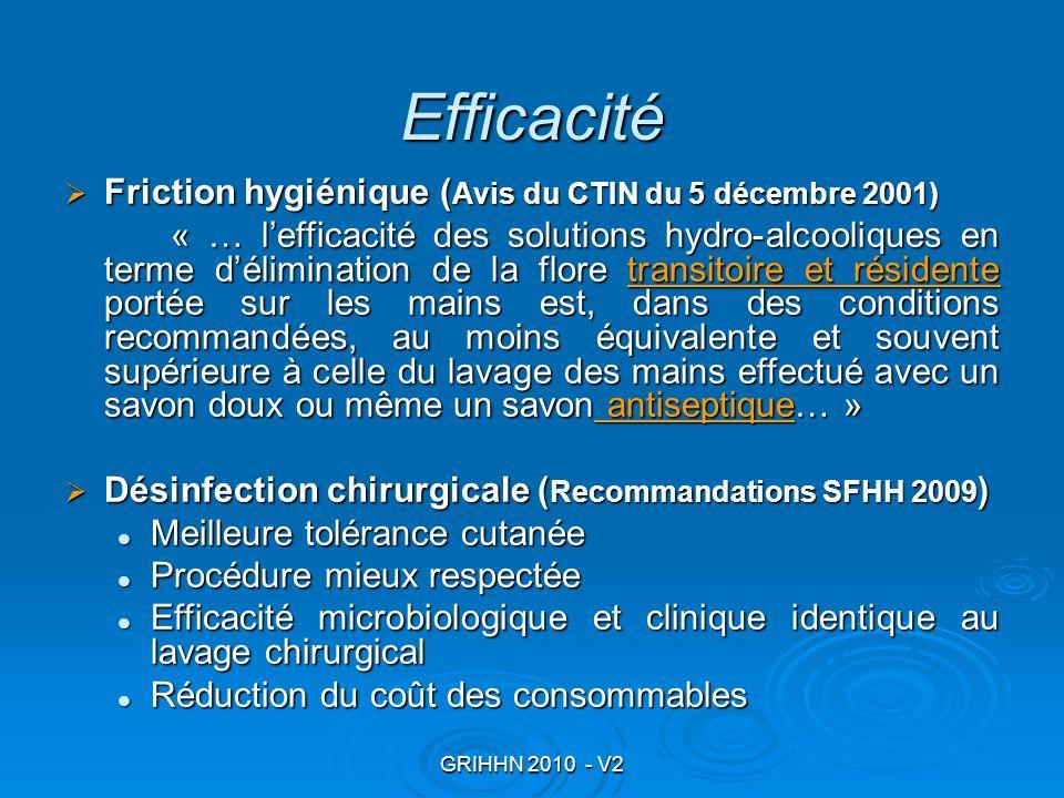 Efficacité Friction hygiénique (Avis du CTIN du 5 décembre 2001)