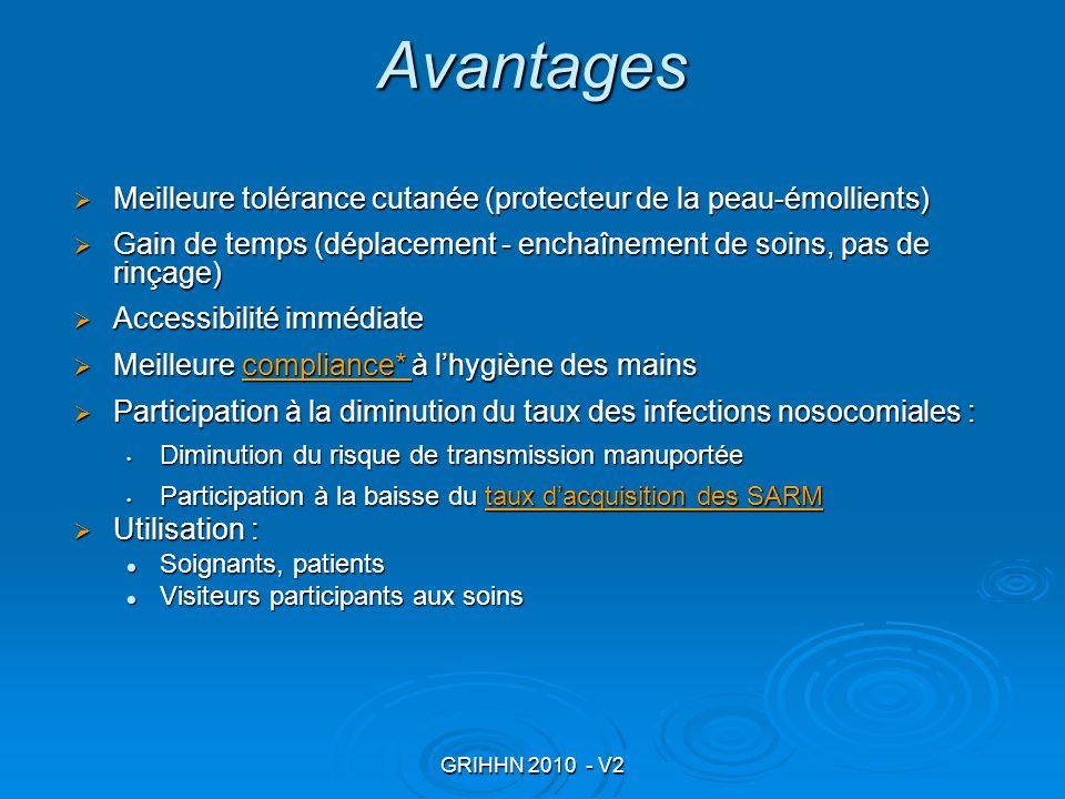 Avantages Meilleure tolérance cutanée (protecteur de la peau-émollients) Gain de temps (déplacement - enchaînement de soins, pas de rinçage)