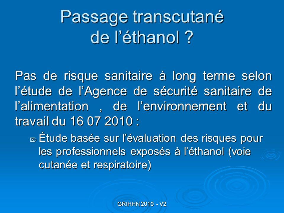 Passage transcutané de l'éthanol