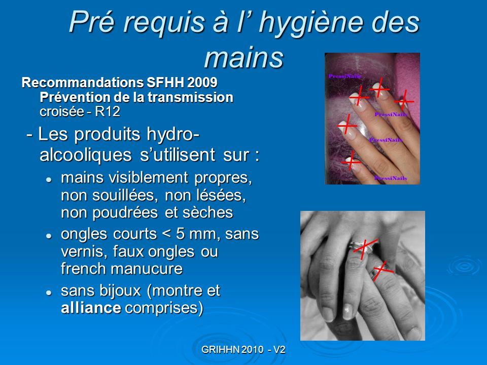 Pré requis à l' hygiène des mains