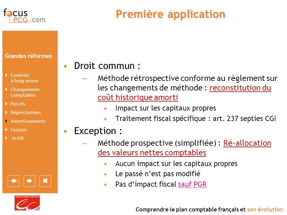 Première application Droit commun : Exception :
