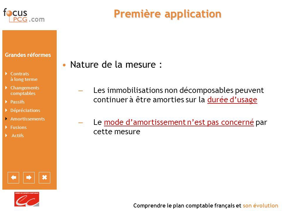 Première application Nature de la mesure :