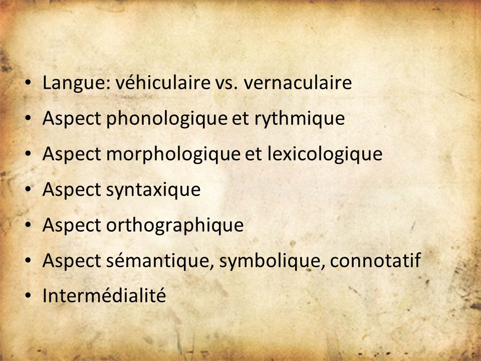 Langue: véhiculaire vs. vernaculaire