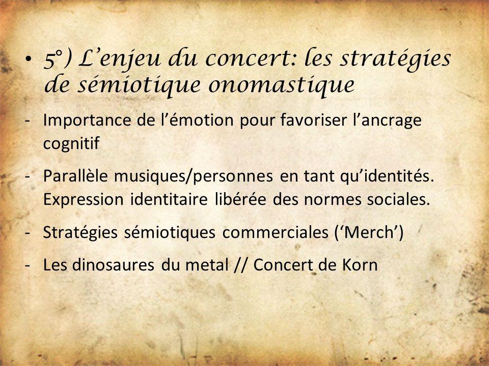 5°) L'enjeu du concert: les stratégies de sémiotique onomastique