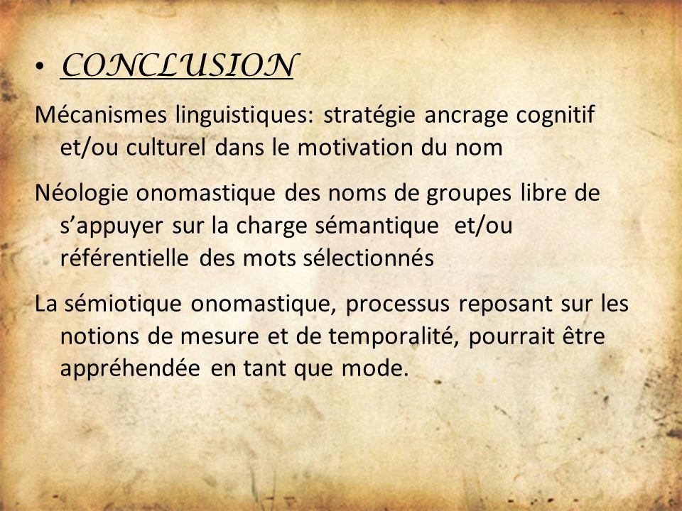 CONCLUSION Mécanismes linguistiques: stratégie ancrage cognitif et/ou culturel dans le motivation du nom.
