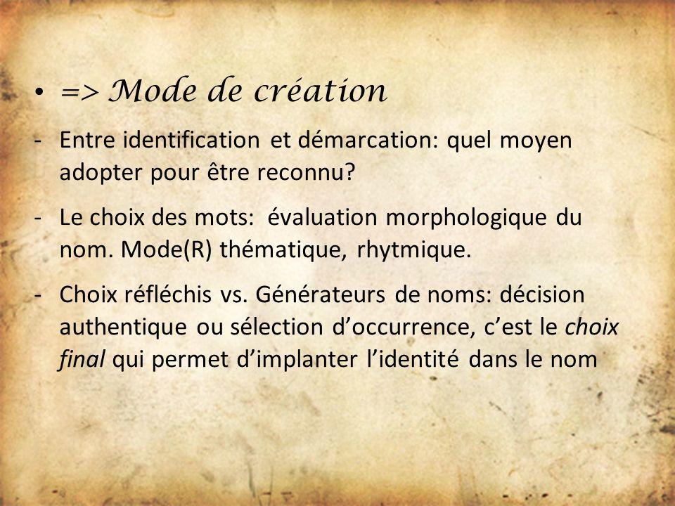 => Mode de création Entre identification et démarcation: quel moyen adopter pour être reconnu