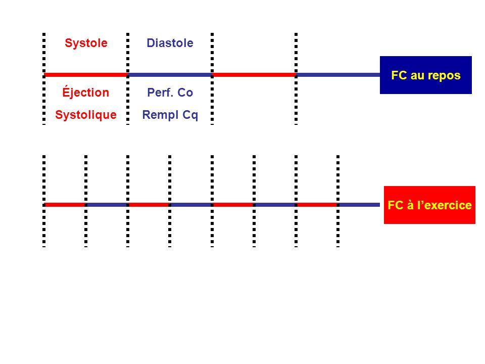 Systole FC au repos Diastole Perf. Co Rempl Cq Éjection Systolique FC à l'exercice