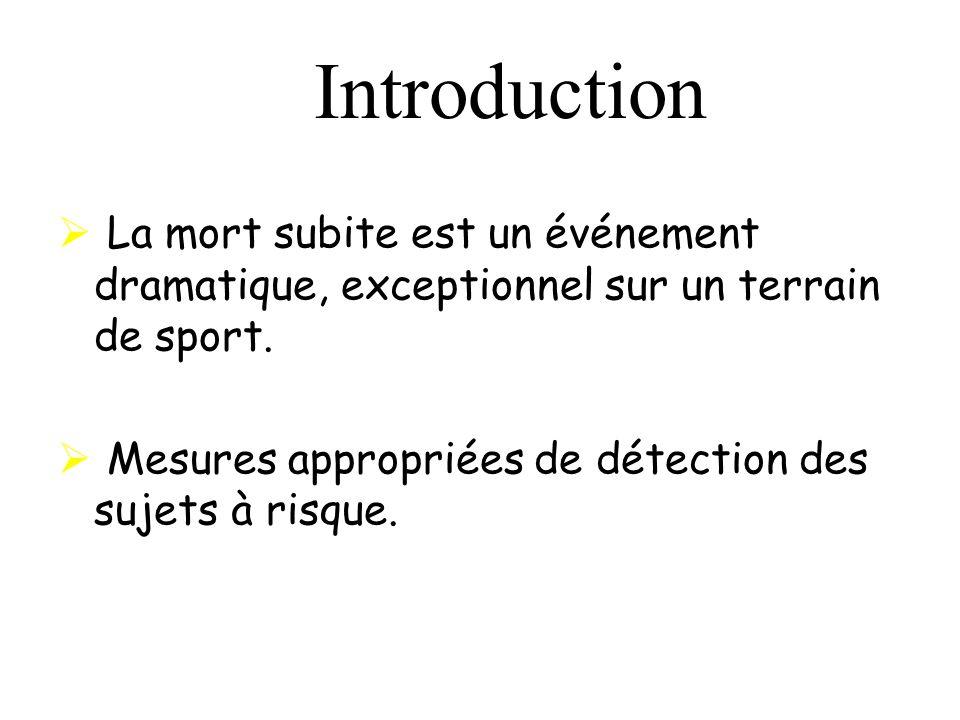 Introduction La mort subite est un événement dramatique, exceptionnel sur un terrain de sport.
