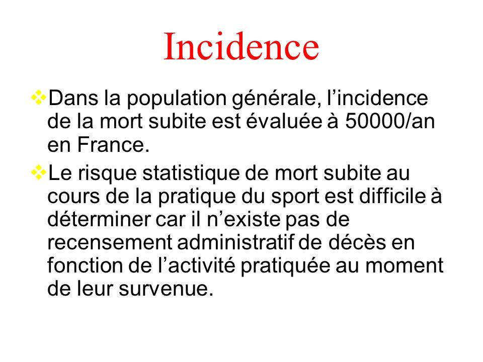 Incidence Dans la population générale, l'incidence de la mort subite est évaluée à 50000/an en France.
