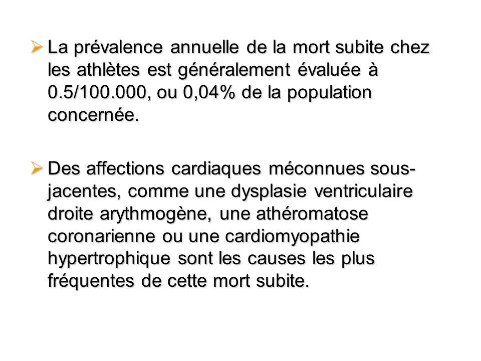La prévalence annuelle de la mort subite chez les athlètes est généralement évaluée à 0.5/100.000, ou 0,04% de la population concernée.