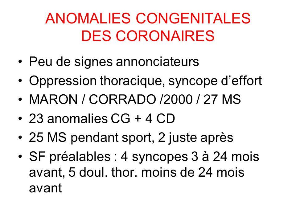ANOMALIES CONGENITALES DES CORONAIRES