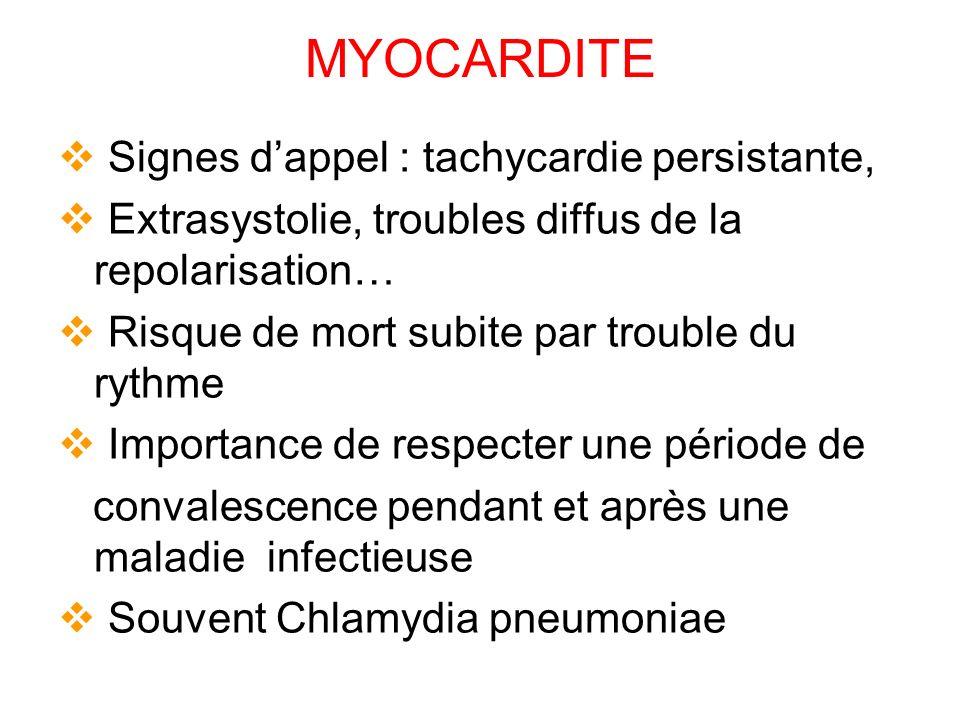 MYOCARDITE Signes d'appel : tachycardie persistante,