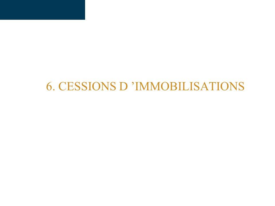 6. CESSIONS D 'IMMOBILISATIONS