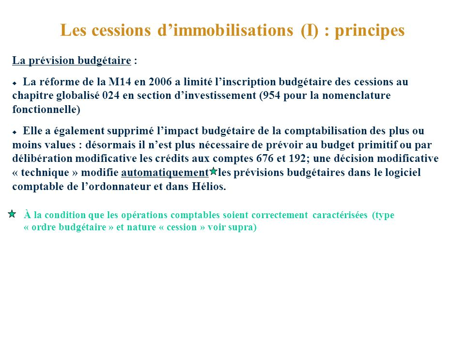 Les cessions d'immobilisations (I) : principes