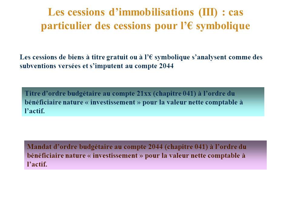 Les cessions d'immobilisations (III) : cas particulier des cessions pour l'€ symbolique