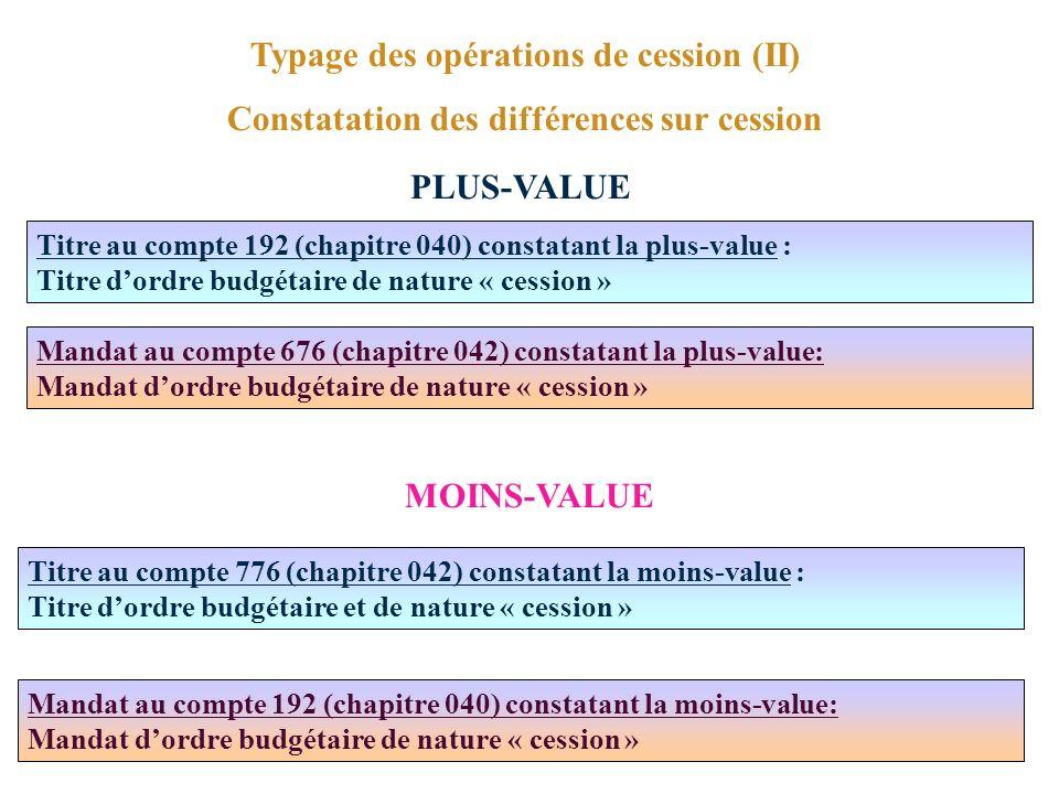 Typage des opérations de cession (II)