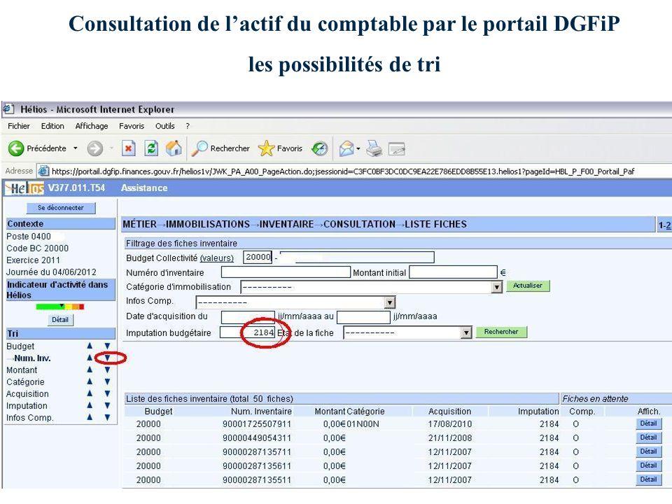 Consultation de l'actif du comptable par le portail DGFiP