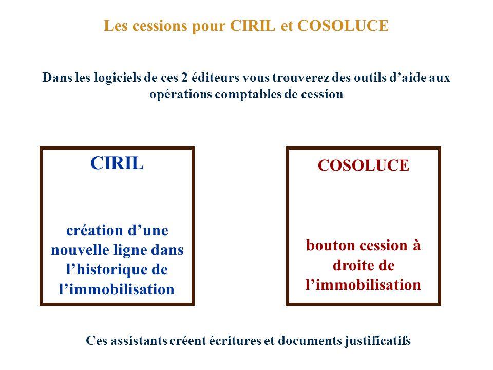CIRIL Les cessions pour CIRIL et COSOLUCE COSOLUCE