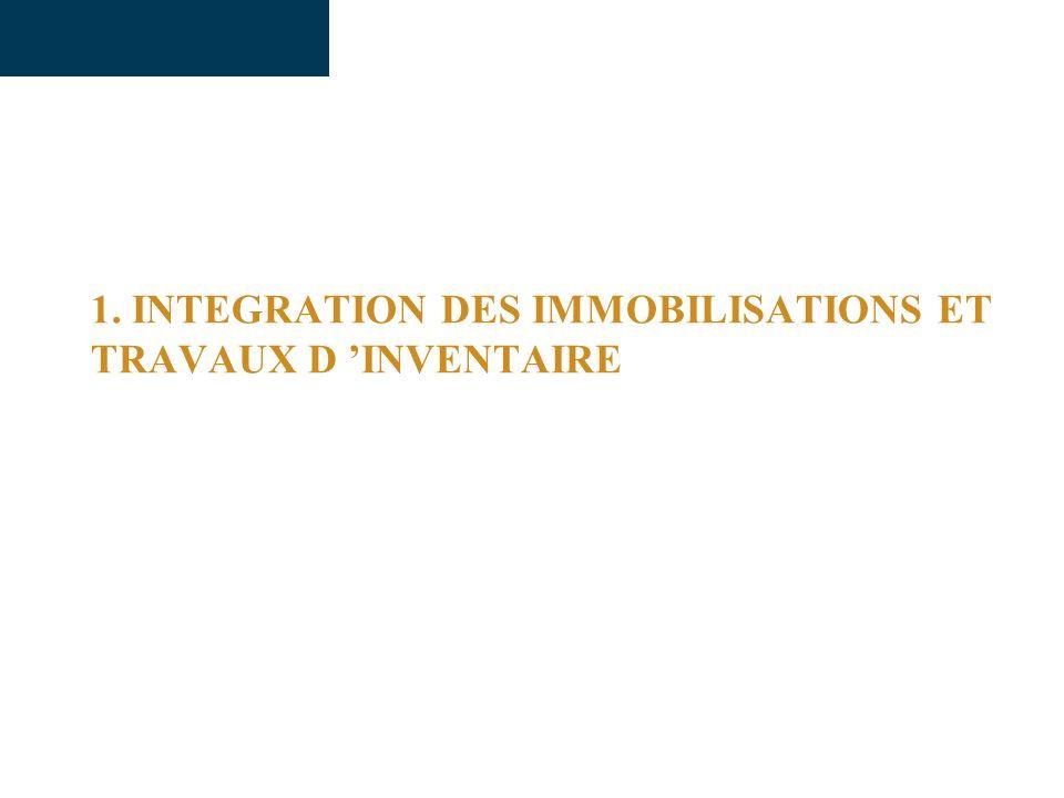 1. INTEGRATION DES IMMOBILISATIONS ET TRAVAUX D 'INVENTAIRE
