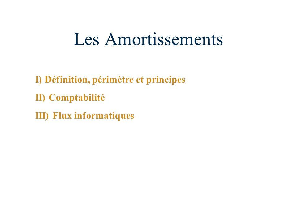 Les Amortissements I) Définition, périmètre et principes