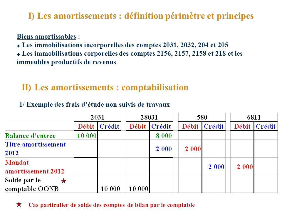 I) Les amortissements : définition périmètre et principes
