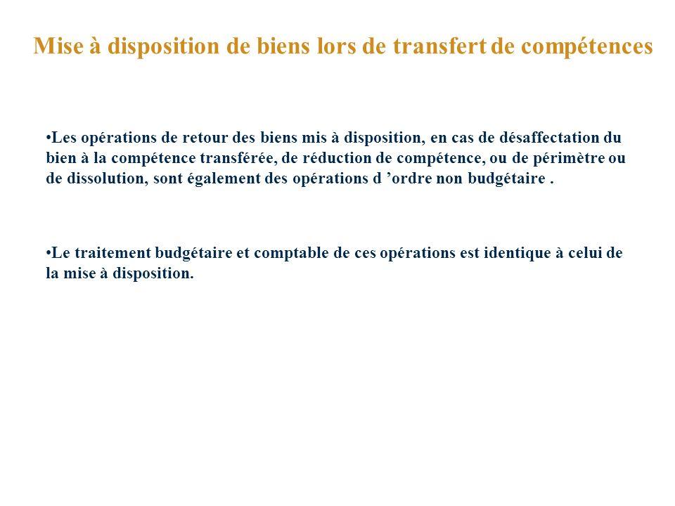 Mise à disposition de biens lors de transfert de compétences