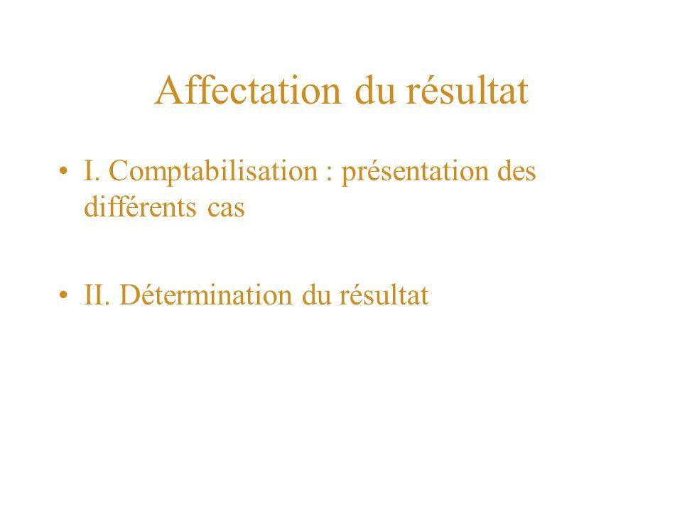 Affectation du résultat