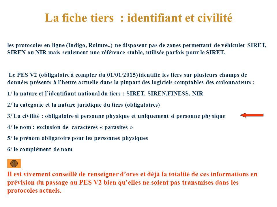 La fiche tiers : identifiant et civilité