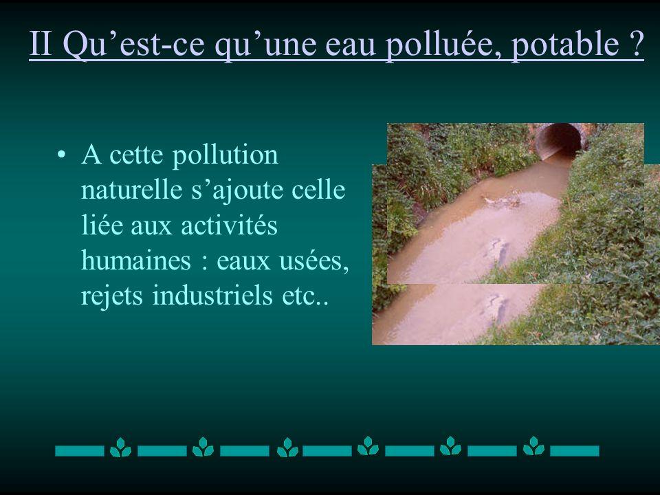 II Qu'est-ce qu'une eau polluée, potable