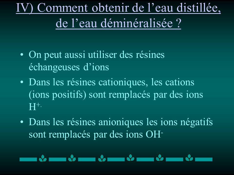 IV) Comment obtenir de l'eau distillée, de l'eau déminéralisée